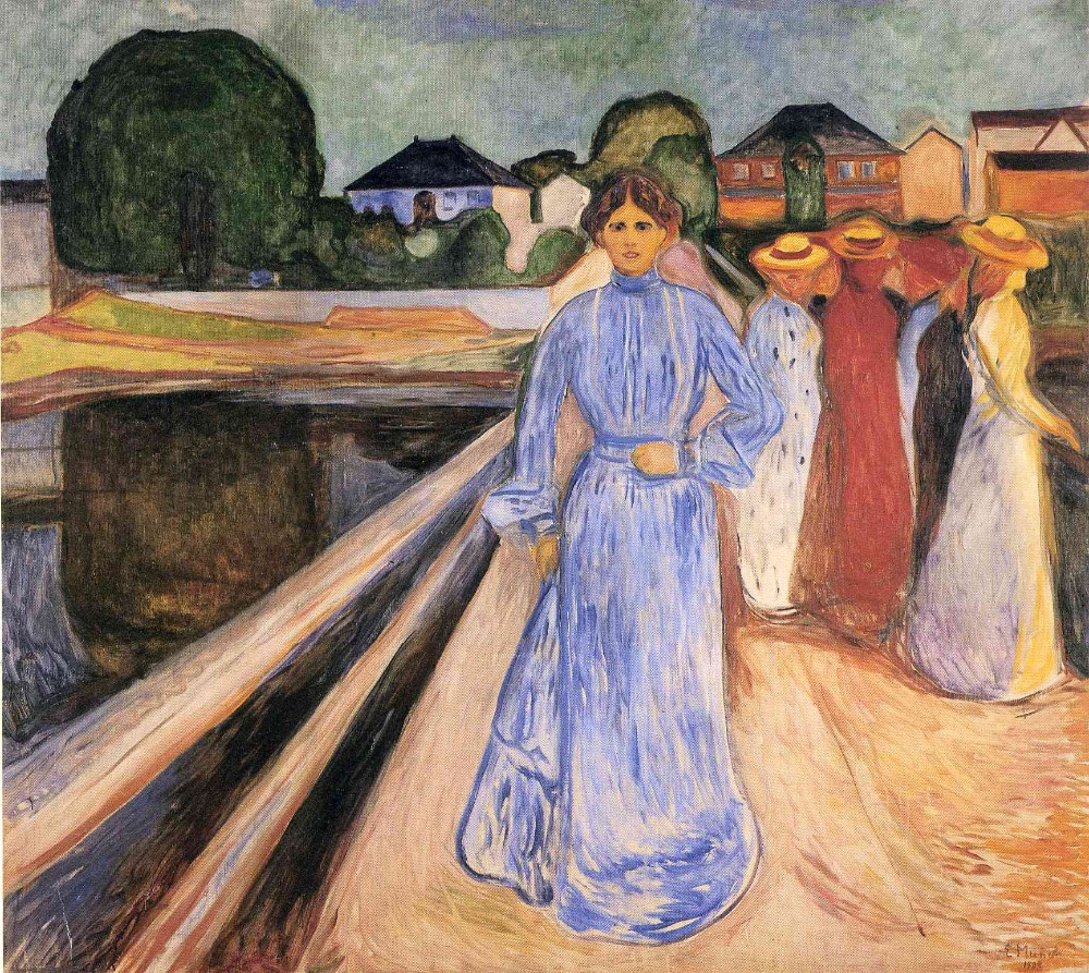 Oil Painting Reproduction on Linen Canvas,women-on-the-bridge-1902 by Edvard Munch,100% handmadeOil Painting Reproduction on Linen Canvas,women-on-the-bridge-1902 by Edvard Munch,100% handmade