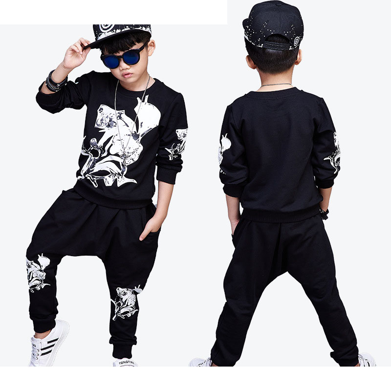 printed 2017 children kids teenage boys clothing sets big boys outfits clothes tracksuits suits 2 pcs t shirts tops + long pants