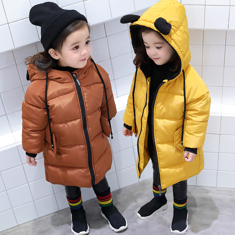 Baby Girls jackets Fashion Cartoon Hooded Padded Boys Coats Clothing New Fashion 2018 Long Warm Outerwear Tops Kids Jackets Girl new 2018 fashion fur hooded long cotton jackets for little teenage girls outerwear tops kids thick warm coats padded clothing