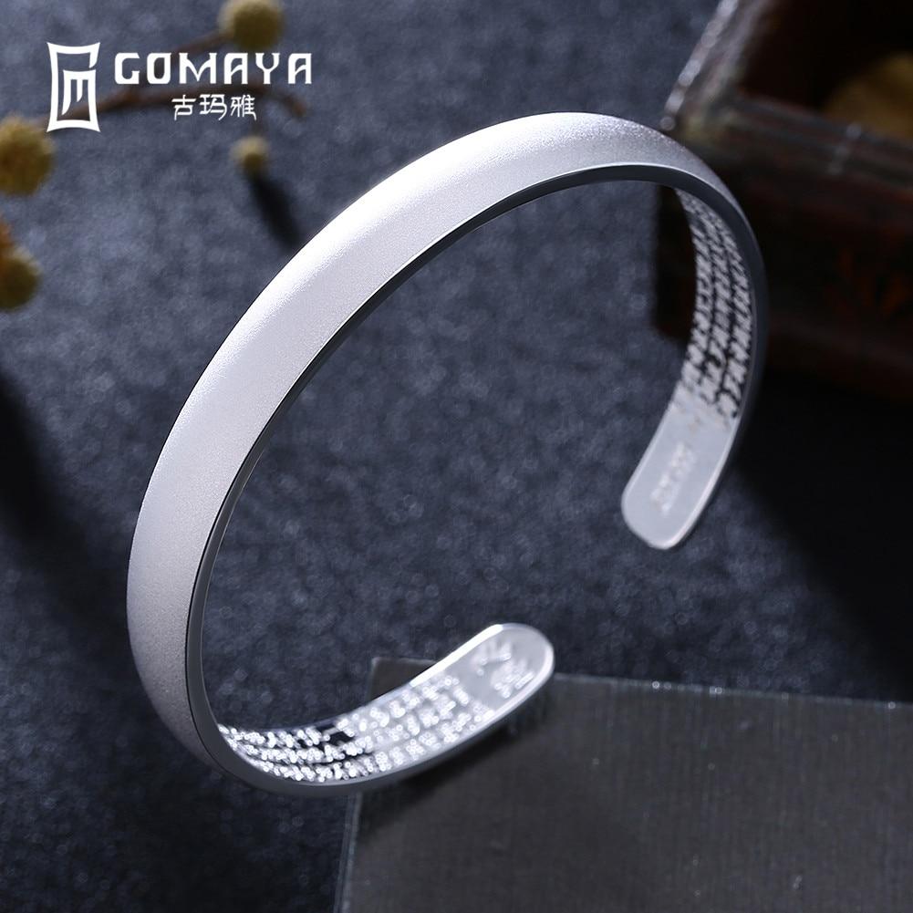 GOMAYA Genuine 999 Sterling Silver Bracelets Bangles for Women Classic Design Ladies Bangles Gift Adjustable Open Cuff Bracelets