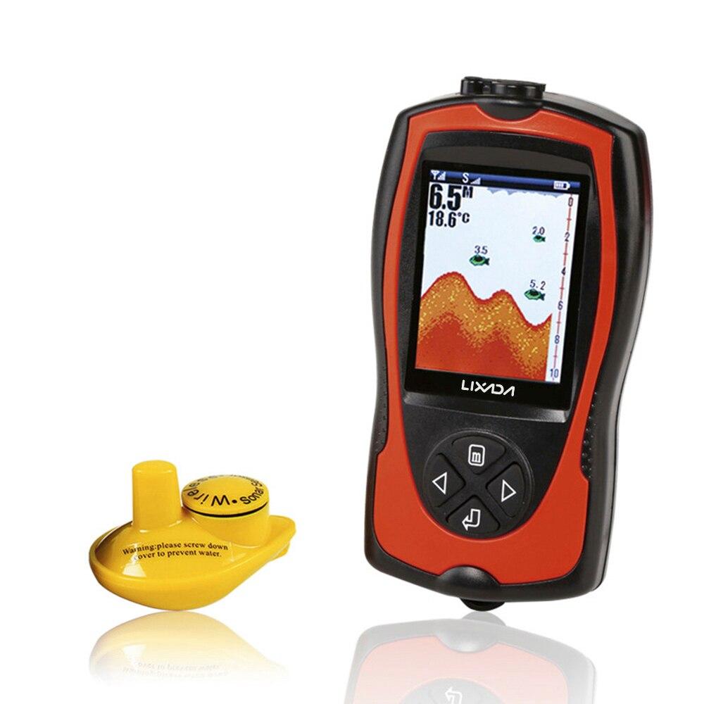 Lixada Tragbare 2-in-1 Wiederaufladbare 2,4 zoll LCD Wireless Sonar Wandler Tiefe Locator EIS Ozean Fisch Finder alarm Detektor