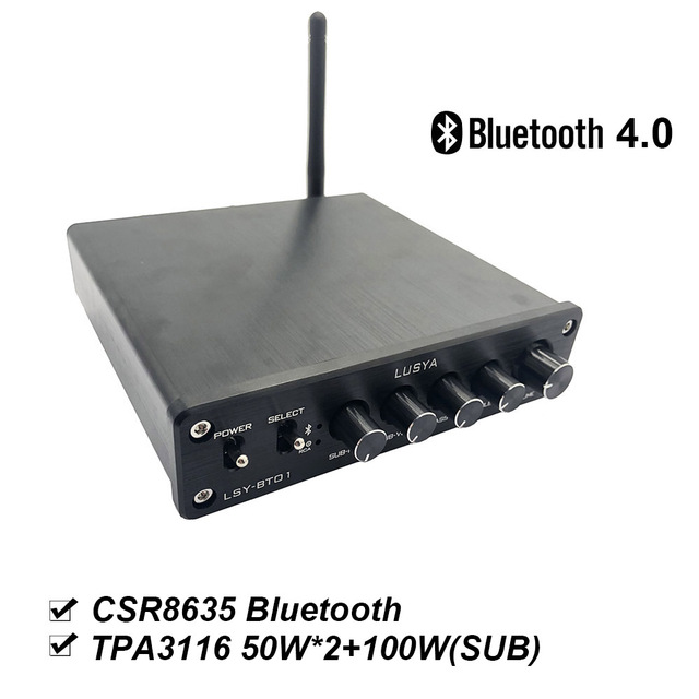 CSR8635 Bluetooth 4.0 TPA3116 2.1 High power HIFI Subwoofer amplifier board Class D amplificador audio 2 * 50W +100W B2-004
