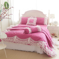 Svetanya noble quilting pink lace border bedding sets 4pcs/9pcs modal linens Full/Queen/King duvet cover+coverlet+pillowcases