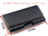 Genuine Leather Belt Clip Holster For 5 2 5 7 Inch Mobile Phone Horizontal Pouch Case