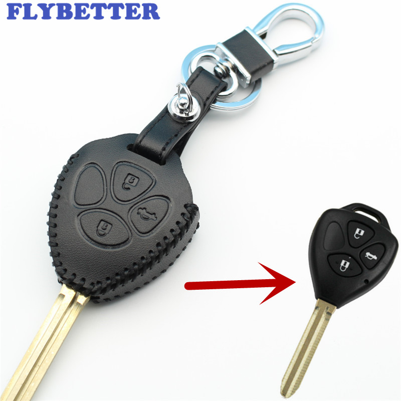 FLYBETTER Genuine Leather 3Button Key Case Cover For Toyota Prado/Mark/Corolla/Camry/Reiz/Crown Car Styling L2097