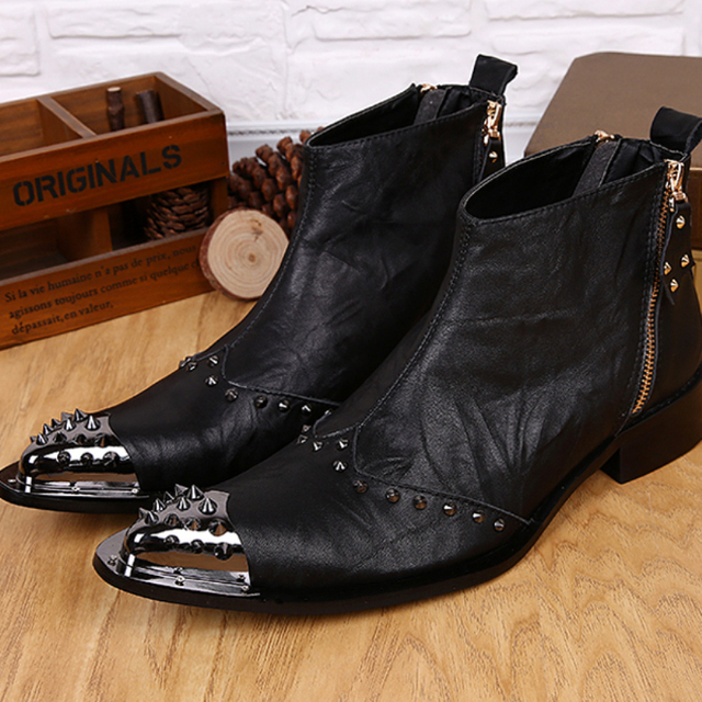 Christia Bella Fashion Genuine Leather Men Boots Pointed Toe Men Ankle  Boots Rivet Motorcycle Boots Party 5dbe378aef41