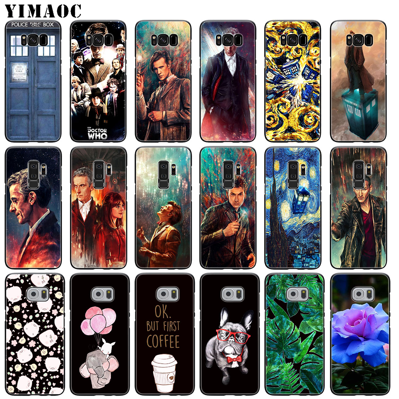 Fitted Cases Sporting Yimaoc Tardis Box Doctor Who Soft Silicone Case For Samsung Galaxy S10 Plus S9 S8 Plus S6 S7 Edge S10e E Tpu Black Flower Cover Luxuriant In Design Cellphones & Telecommunications