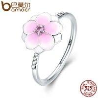 BAMOER Genuine 925 Sterling Silver Magnolia Bloom Pale Cerise Enamel Pink CZ Finger Ring For Women