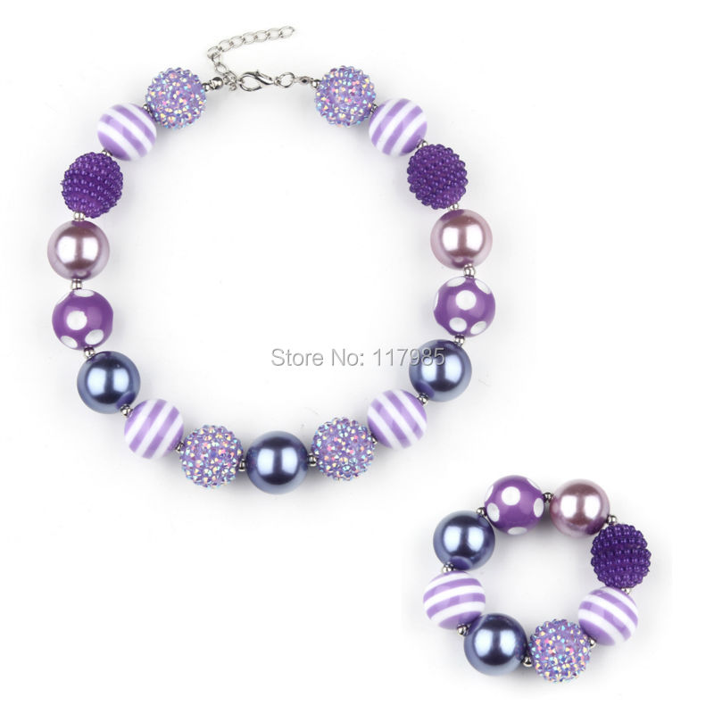847502672232 Vcmart pequeña princesa púrpura con cuentas chunky collar pulsera set niños  Bubblegum collar joyería partido favor 2 Sets