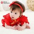Recién nacido Niñas Vestidos de Verano Vestido de La Princesa Bebé Trajes de La Muchacha Del Estilo Chino Corto Seleeve Seda de Mora Recién Nacidos Niños Vestir