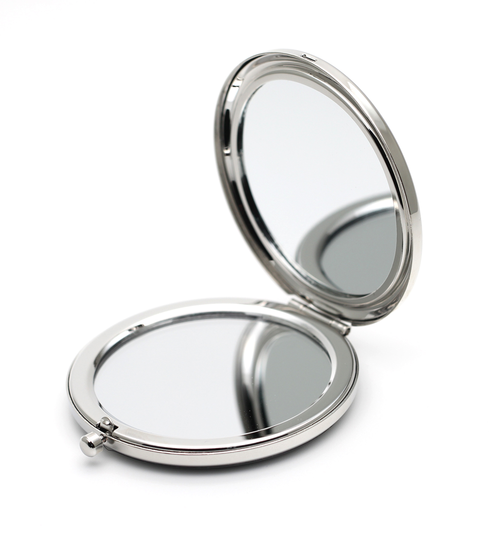65mm Compact Mirror Silver Blank Pocket Magnifying Cometic Makeup ...