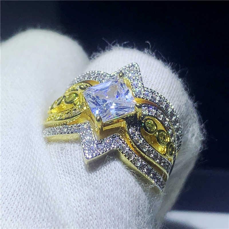 3 em 1 anel de promessa de ouro conjunto 925 prata esterlina aaaa cz noivado anéis de banda de casamento para mulheres presente de jóias de festa de dedo