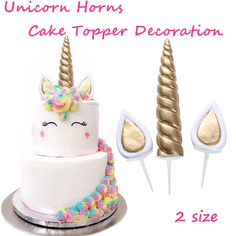 Event Supplies Cake Topper Baking Desserts Halloween Party Unicorn Horns Children Kids Birthday Decoration
