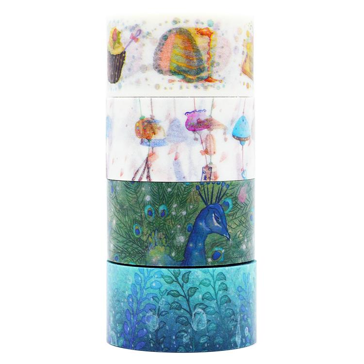 1Roll High Quality 25mm Peacock Grass Food Pattern Japanese Washi Decorative Adhesive Tape DIY Masking Paper Tape Label Sticker