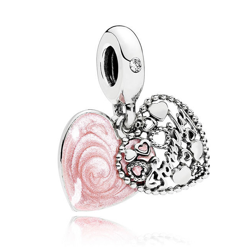 New 925 Sterling Silver Bead Charm Pink Enamel Love Makes a Family With Crystal Pendant Beads Fit Pandora Bracelet DIY Jewelry 925 sterling silver charm a z letter of the alphabet with crystal pendant beads fit pandora original bracelet diy jewelry making