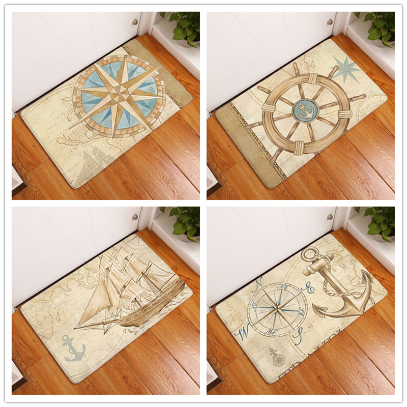 Anti-Slip Door Mat Waterproof Cartoon Ocean Anchor Ferry Carpets Bedroom Rugs Decorative Stair Mats Home Decor Crafts