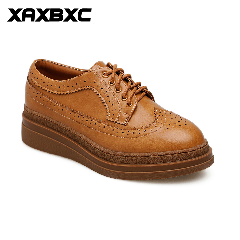XAXBXC 2018 Retro British Spring Brown Leather Brogue Wedges Platform Lace-Up Oxfords Women Pumps Handmade Casual Ladies Shoes brand new spring men fashion lace up leather retro brogue shoes casual flat breathable carved shoes bullock oxfords shoes wb 55