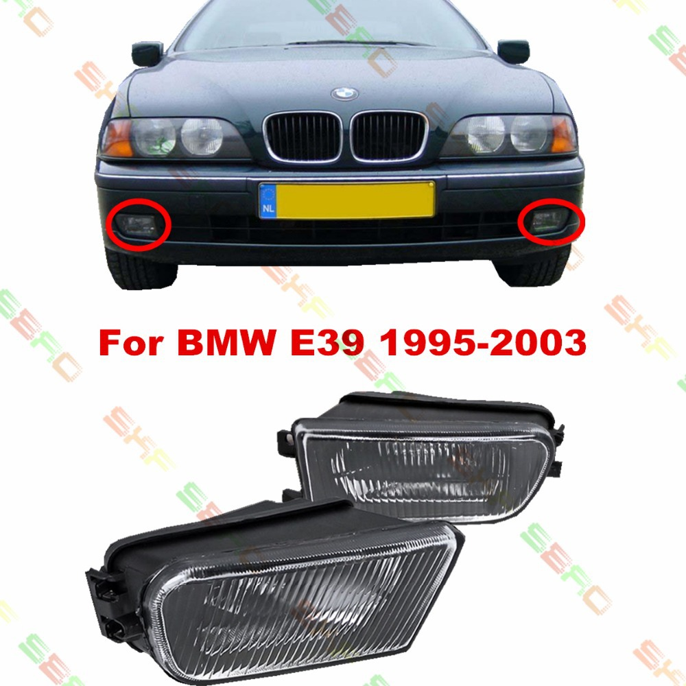 For BMW E39  1995/96/97/98/99/2000/01/02/03   car styling fog lights fog lamps  1 SET  Pattern glass