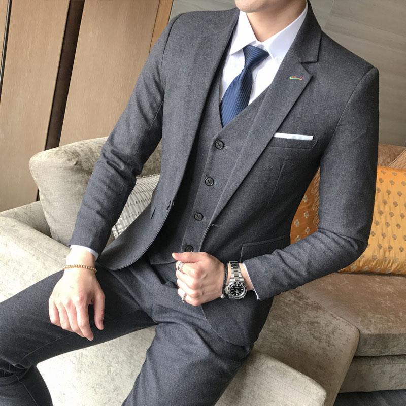 De Costume Taille gris Gilet Marée Hommes marron pièce Trois Mariage rouge D'affaires Robe Bleu Grande Pantalon Banquet avant Britannique Coréen qXI7gUWw
