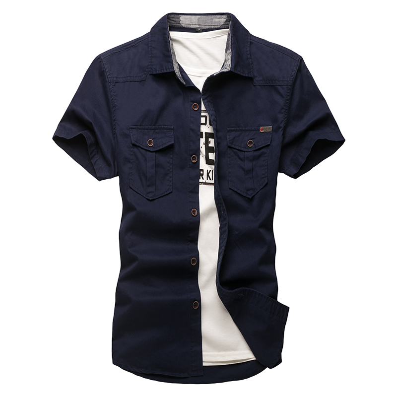 Plus Size Mens Shirt New Men Cargo Shirt Fashion Casual Shirt Summer Style 100% Cotton Solid Mens Casual Shirt