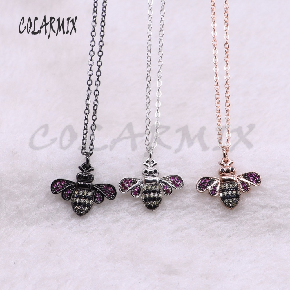 10 strands rainbow bees necklace for lady bugs pendants small size jewelry 18 mix color necklace pets beads 3747