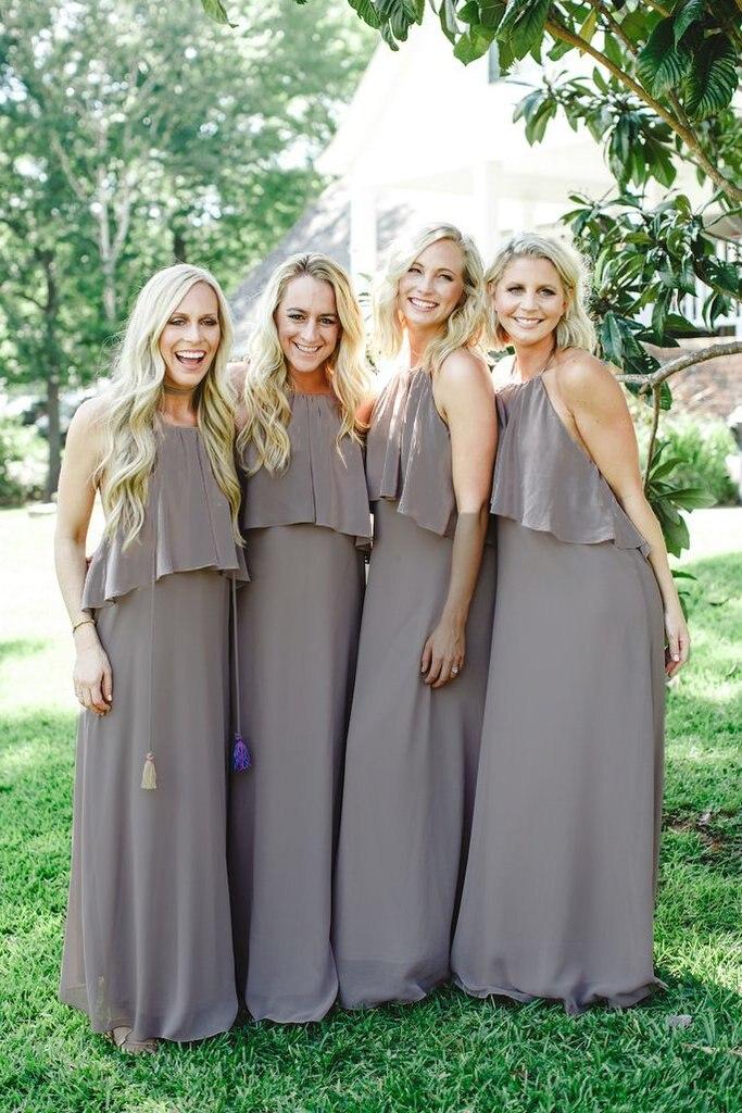 Light Slate Gray Spaghetti Straps Long Chiffon Bridesmaid Dresses With Fringe Custom Color And Size