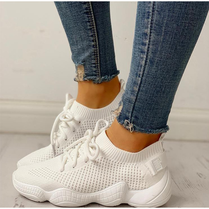 HTB1xQlxSCzqK1RjSZFLq6An2XXaI Women Mesh Spring Sneakers Ladies Lace Up Stretch Fabric Platform Flat Vulcanized Casual Shoes Female Breathable Fashion