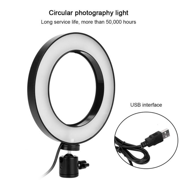 Photography LED Selfie Ring Light three-speed Stepless Lighting Dimmable With Cradle Head For Makeup Video Live Studio