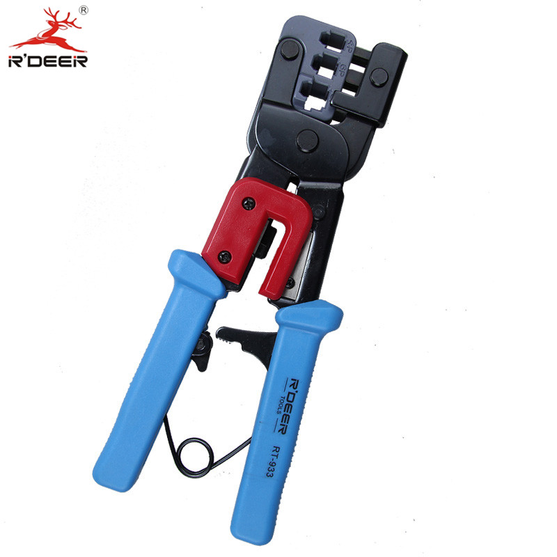 RDEER Network RJ45 Crimping Pliers 4P/6P/8P Crimp Wire Stripper Terminal Crimping Tool Cable Cutter Stripping Hand Tools 3in1 6p 8p network crimping pliers ratchet portable cable wire stripper crimping pliers terminal tool multifunctional pliers cp 376d