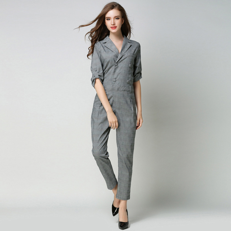 Jumpsuits Women Vintage Plaid Revers Double breasted Pockets Ankle Length Pants Jumpsuits England Style Ladies New
