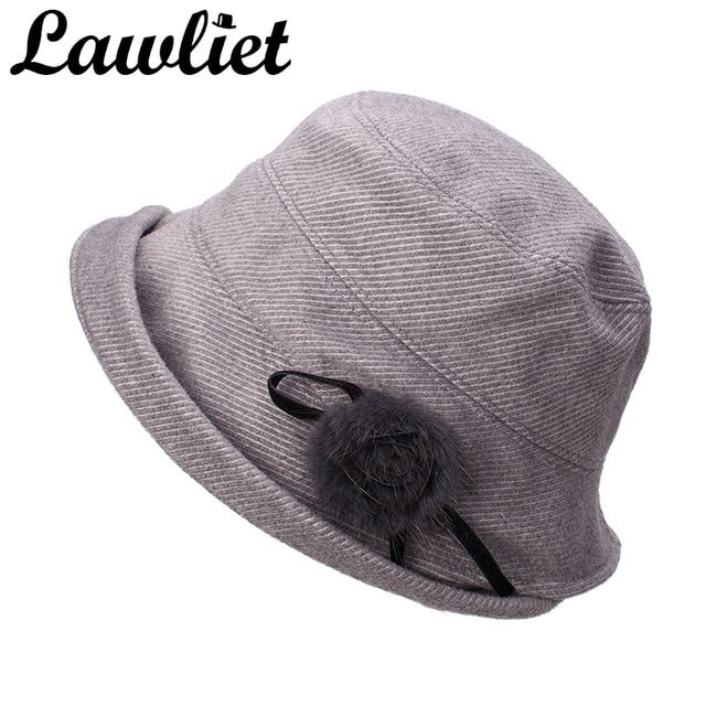 Lawliet Women Wool Hats Autumn Winter Fleece Hat 1920s Cloche Bucket Hats  Wide Brim UV Protective Sun Hat Ladies Travel Cap 058e337ced8