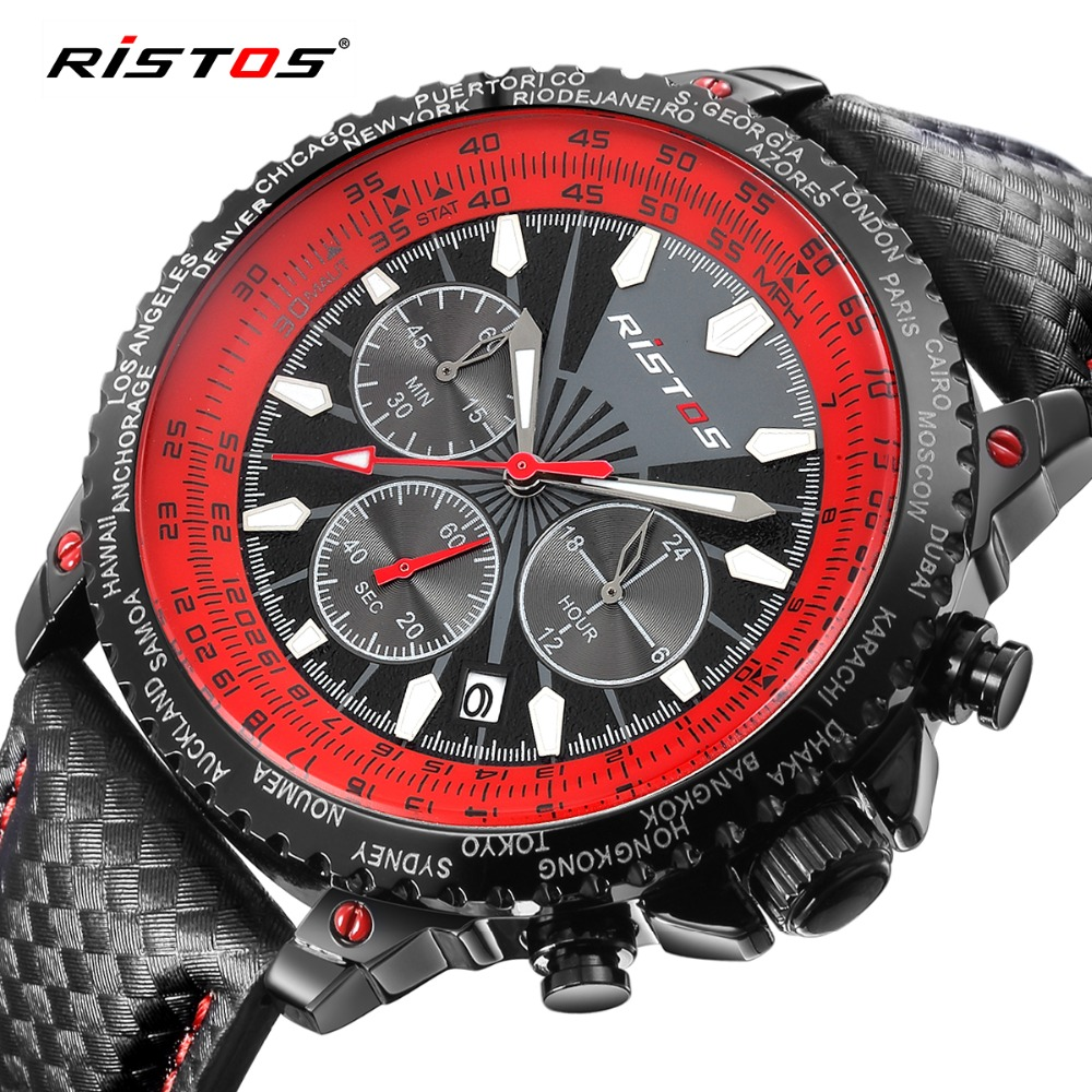 RISTOS Chronograph Men Watch Fashion Sport Quartz-Watch Calendar Leather Mens Watches Top Brand Luxury Wristwatch Analog Relojes hubot elegant classic men s watch dates calendar classical art carved craft design chronograph men sport watches relogios