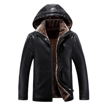 2020 High Quality Men Leather Jacket Faux Sheepskin Coat Winter Leather Jacket Fur Lined Leather Coat Detachable Hood PU Leather