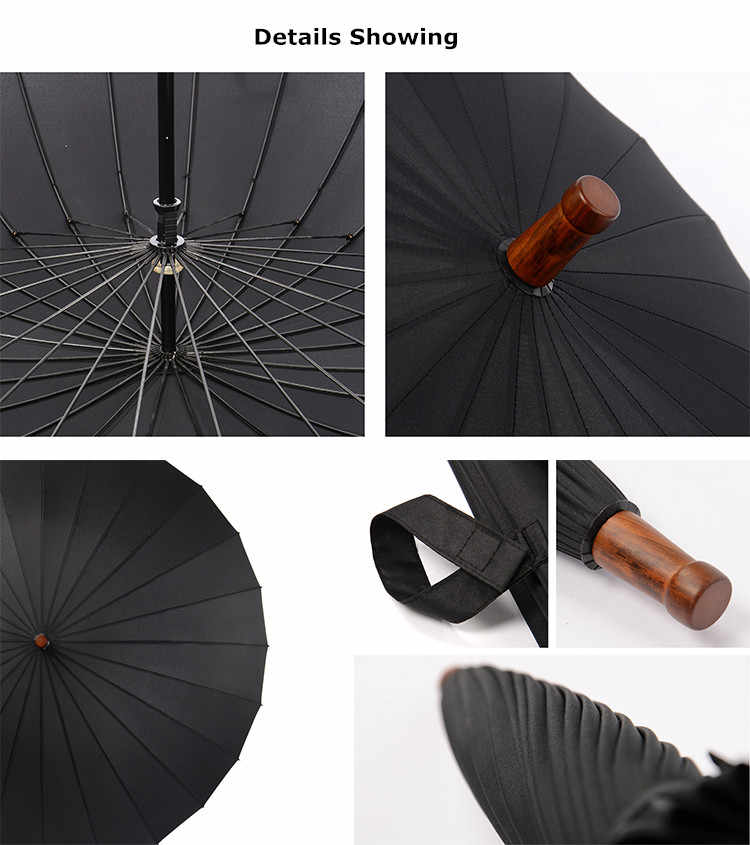 498b05acae2a 115cm diameter 24 ribs hand open solid colour antique wooden business  umbrella with carrying belts commercial stick car parasol