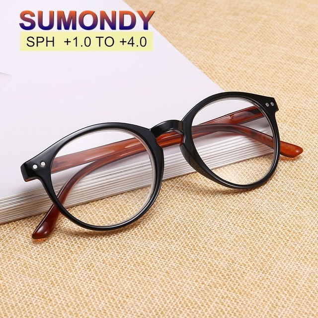 SUMONDY High Quality Reading Glasses Diopter +1.0 to +4.0 Women Men Brand Designer Full-frame Round Lens Presbyopic Glasses UR15