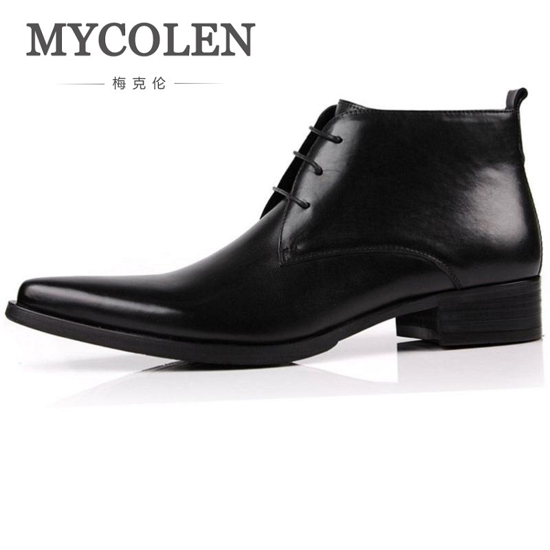 цена MYCOLEN High Quality Men Boots Zip Ankle Rubber Men Shoes Genuine Leather Classic Business Office Formal Boots Botas Masculino онлайн в 2017 году