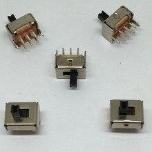 20 штук SS22D07 SS-22D07 6PIN 2P2T DPDT тумблер боковые слайды переключатели ручка 4 мм ROHS