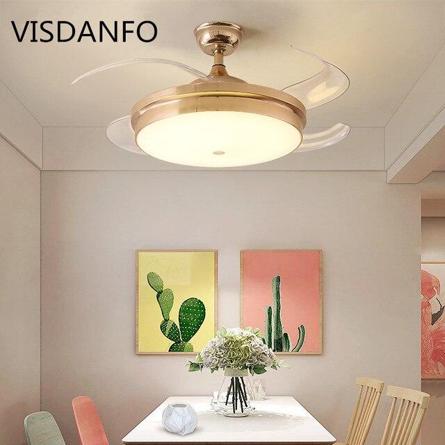 מודרני LED מנורת תקרת אוהדי אורות אקריליק עלה תקרת אוהדי 220 V 42 אינץ עבור משרד סלון סלון תקרה מאוורר תאורה