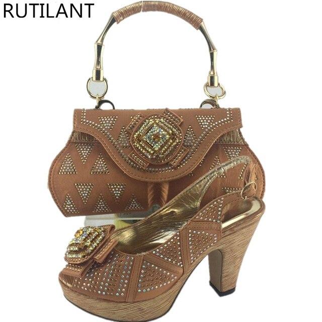 Braun Farbe Afrikanische Schuhe und Taschen Matching Set Italienische  Passenden Schuhe und Tasche Sets Frauen Pumpen 7ccdd87035