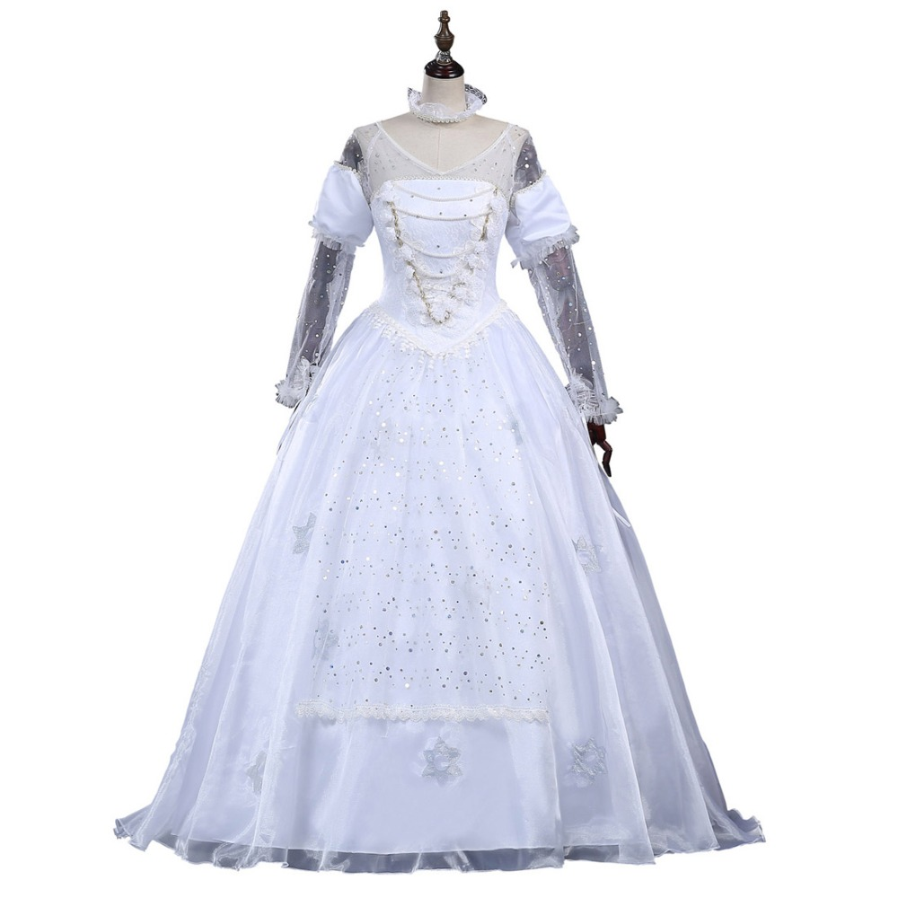 2016 Alice In Wonderland White Queen Dress White Queen Cosplay Costume For Halloween halloween queen cosplay dress