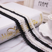 1Yards/Lot Pearl Beaded Lace Ribbon African Fabric Embroidered Trim Fringe Collar Dress Sewing Garment Applique