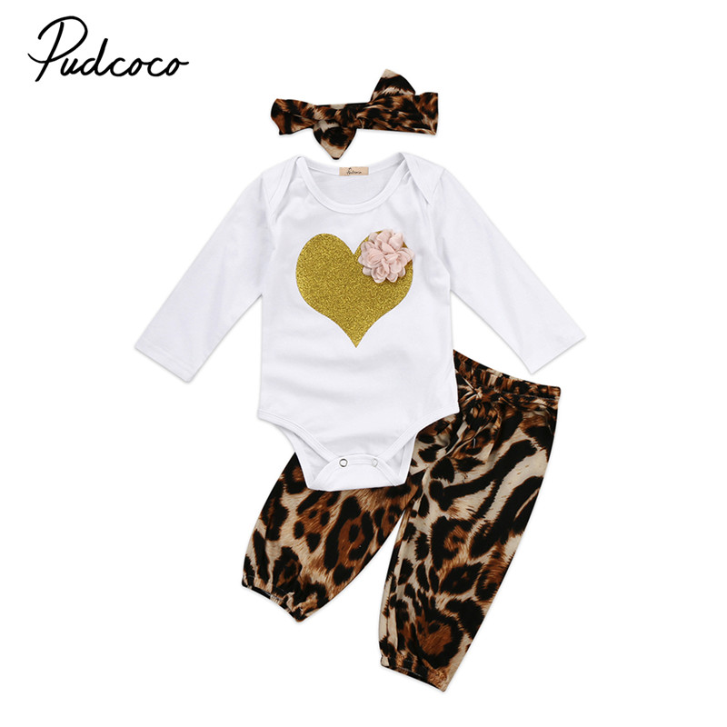 0 to 24M Newborn Infant Baby Girls Clothes Long Sleeve Tops Romper +Leopard Pants+Headdress 3pcs Outfits Baby Clothing Set