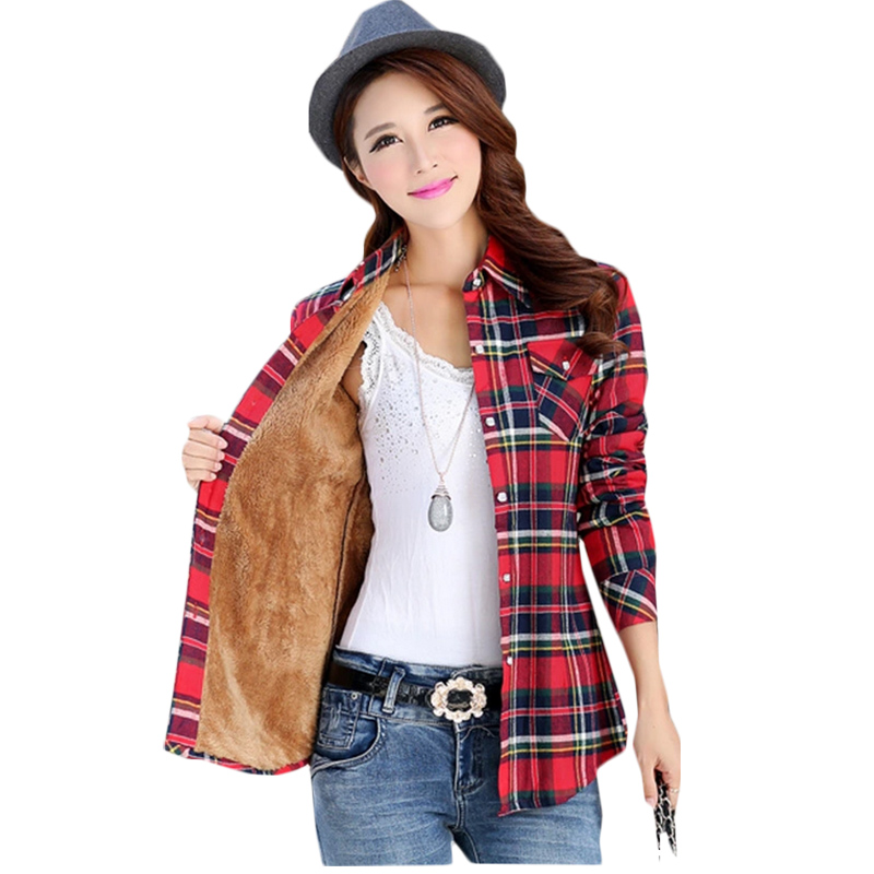 Autumn Winter Ladies Female Casual Plus Thick Velvet Warm Long Sleeve Shirt Women Blouse Plaid Shirts Women Tops Blusas