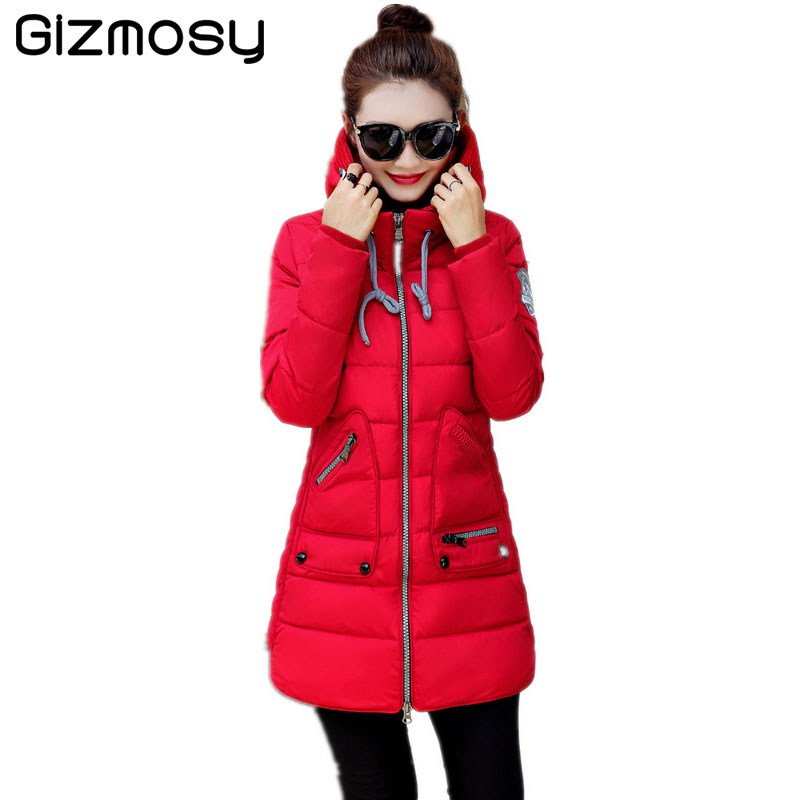 New hooded winter cotton down jacket women parka casual coat for ladies Medium-long thick soft outwear mujer 2017 SY442 shibever new cotton women winter coat ladies casual jacket women warm thick winter parka female outwear clothing for girl cjt142