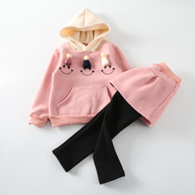 Baby Girl Winter Thicken Hoodies + Skirts Legging Plus Velvet Princess Girl Clothes Sets Kids Christmas Costumes Children Clothe