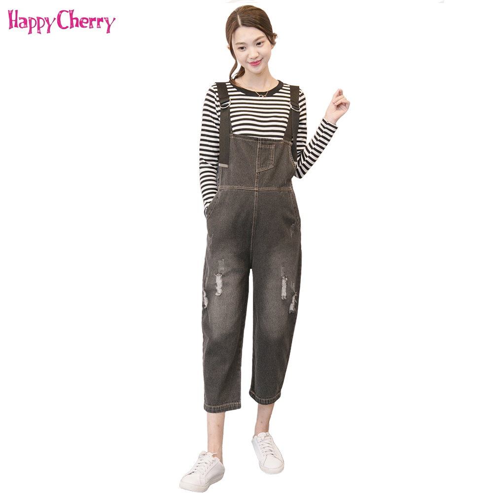 Spring Autumn Maternity Bib Jeans Loose Jumpsuits Clothes With Pockets For Pregnant Women Cotton Denim Pregnancy Overalls Pants