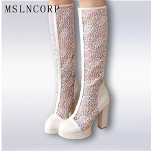 Big Size 34-43 Knee High Women Summer Boots Sexy Fashion Pumps Ladies White Black Gladiator  Shoes Heels For
