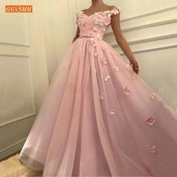 Sumptuous Pink 3D Floral Pearls Customized Prom Dresses Long 2019 Party Formal Dress Off Shoulder Girls Pageant Evening Gowns