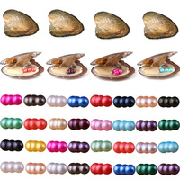 10pcs Freshwater Pearls Oysters Triplets Pearls Cultured Pearl Oysters with 6.5 7.5 mm Round Pearl Inside Random Color