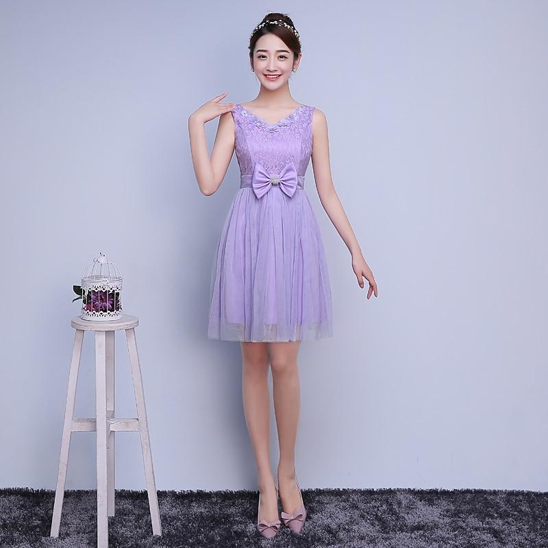 Multa Vestidos Cortos De Dama De Honor Púrpura Ideas Ornamento ...